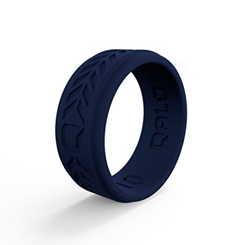 QALO Men's Navy Blue Chevron Q2X Silicone Ring Size 09 ()