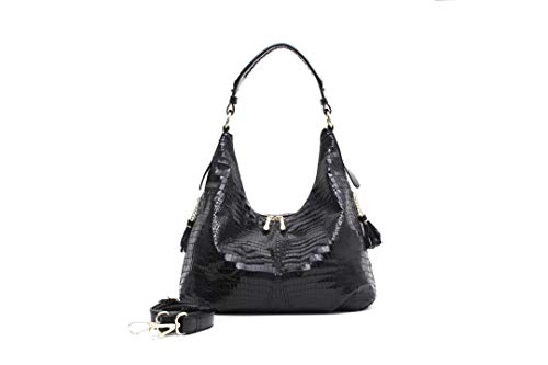 - PU Leather Large Shoulder Bags Crocodile Pattern Shiny Cross Body H bag Black