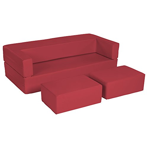 ECR4Kids SoftZone Flip-Flop Couch Convertible Foam Loveseat for Kids, Red ()