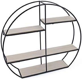Galileo Casa 2192564 estantería Redonda Metal/Madera 4 estantes 49,5 x 44 cm, Negro