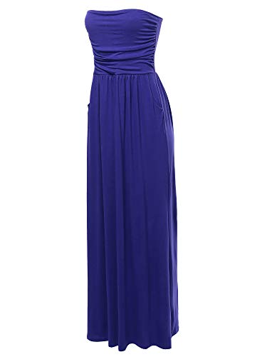 (A2Y Solid Viscose Tube Top Double Layer Side Pockets Maxi Dress Denim Blue S)