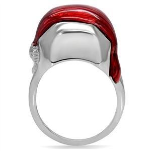 ISADY - Morgan - Bague Mixte Homme Femme - Acier - Email rouge
