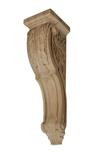 12-1/2 in. x 5-1/8 in. x 5-3/8 in. Unfinished Medium Hand Carved North American Solid Alder Acanthus Leaf Wood Corbel