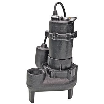 1/2 Horsepower Cast Iron Sewage Pump with Tethered Float Switch and Nonclogging Impeller - Duty Effluent Pump