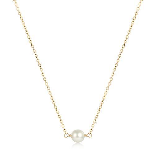Befettly Mini Imitation Pearls Bar Star Shell Pendant Delicate Necklace Handmade 14k Gold Fill Boho Chain-CK2-1Pearl