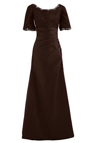 Bride The Maxi corte Sunvary of a Bateau Gowns Dresses scritta maniche con elegante Chocolate