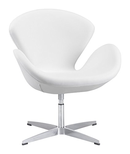 - Modern Contemporary Occasional Chair, White, Faux Leather