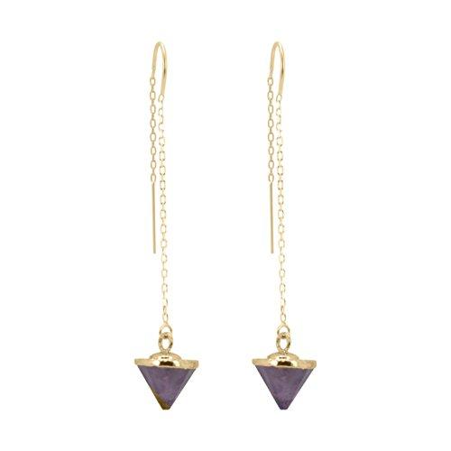 Gold Fill Gemstone Threader Earrings, #6454-yg (amethyst) (Amethyst Earrings Threader)