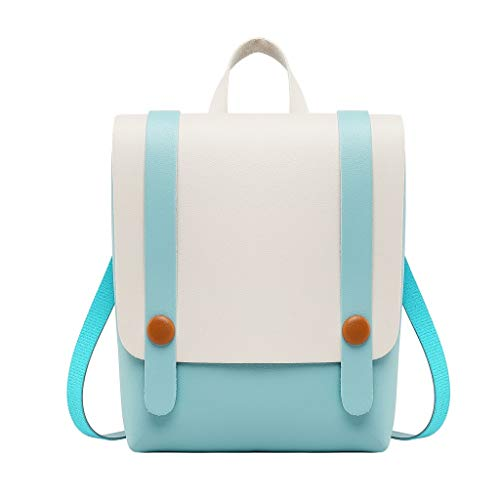 Rakkiss Women Backpack Cute Pure Color Stitching Messenger Bag Mini Portable Pocket Travel Bag Tie Rope Buckle Bag Blue
