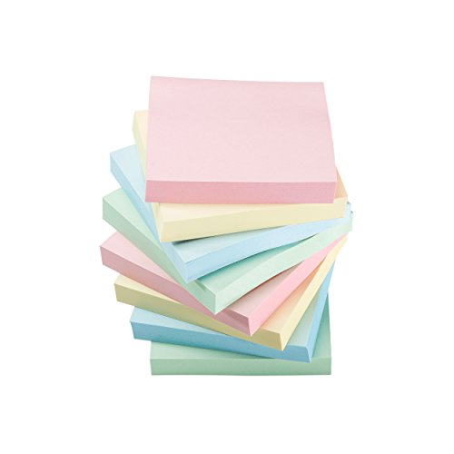 Sticky Notes Self-Stick Notes - 12 Pads/Pack 100 Sheets/Pad - 3 in x 3 inches - Adhesive Notes - Assorted, (Pastel) by Klingy