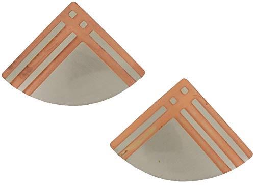 - Pierced Fan Earrings Two Tone Silver Copper Tone Geometric Stripe 1 1/2