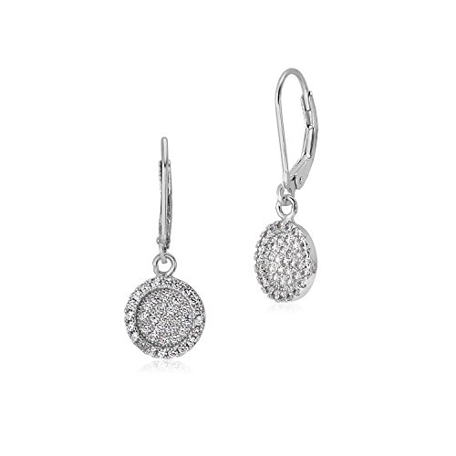 MASSETE Sterling Silver 925 Pave CZ Large Round Disc with Border Leverback Earrings Dangle