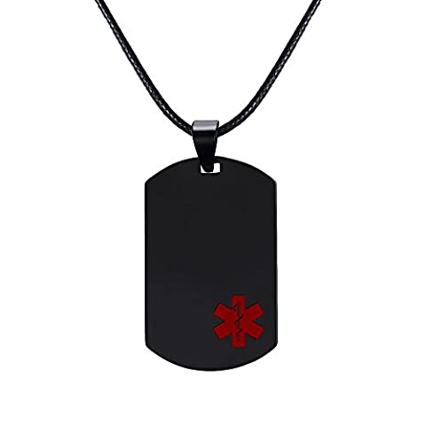 Vnox Free Engraving -Stainless Steel Medical ID Dog Tag for Men Women,Rope Chain 20