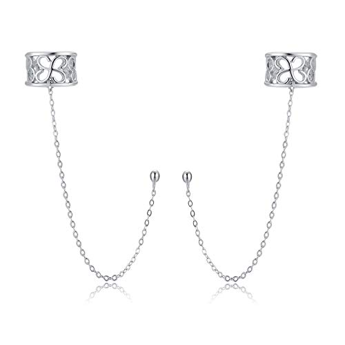 SLUYNZ New Arrival 925 Sterling Silver Chic Cuff Earrings Chain for Women Crawler Earrings Post Earrings ()