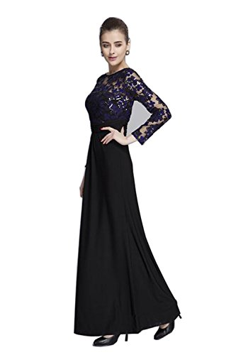 Merope J Elegant Long Sleeves Lace Sheer Maxi Party Wedding Cocktail Dress for Women (4, Purple) ()