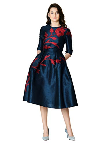 eShakti FX Floral Vine Applique Embellished Dupioni Dress Deep Navy/red