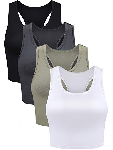 4 Pieces Basic Crop Tank Tops Sleeveless Racerback Crop Sport Top for Women (Black, White, Grey, Olive Green, Medium)