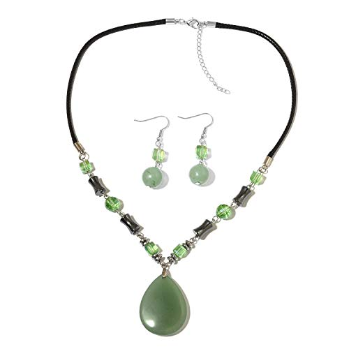 Shop LC Delivering Joy Green Aventurine Earrings and Necklace Set Size 20""