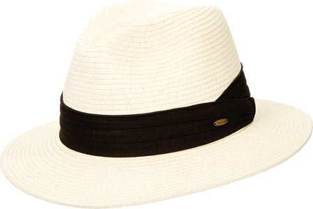 [Scala Men's Paper Braid Safari with Black Band, Ivory, X-Large] (Straw Safari Hat)