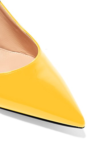 Ankle Leather Evening Strap Shoes Pumps Heels Toe Stiletto Slingback 5cm Yellow Women's Kitten Patent Pointed 6 Eldof xgFwCqYW