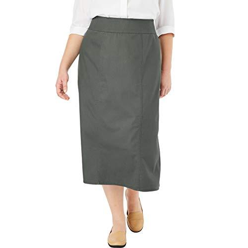 Woman Within Women's Plus Size Smooth Waist A-Line Denim Skirt - Olive Grey, 12 - Denim 12 Skirt