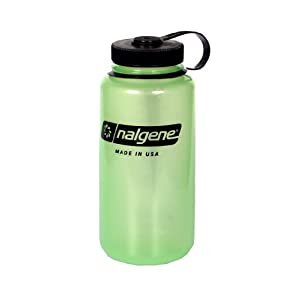 Nalgene Tritan Wide Mouth BPA-Free Water Bottle, Glows Green, 1 Quart