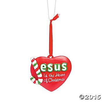 (12) Jesus is the Heart of CHRISTMAS ORNAMENTS ~ Painted Heart Shaped Resin Ornament ~ Holidays Gift Teachers Sunday School Faith Love Christ Santa ~ Bible School~ Christian RELIGIOUS EDUCATION ~New by OTC