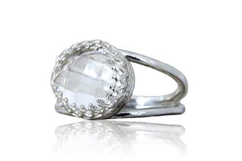 Anemone Jewelry Glitzy Solitaire Ring - 3.87ct Crystal Quartz - 925 Sterling Silver / 14K Gold Rings for Women - Handcrafted Fine Jewelry for Women [Free Gift Box] ()