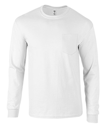 (Have It Tall Men's Long Sleeve Pocket T Shirt Ringspun Cotton Made in USA White Medium Tall)