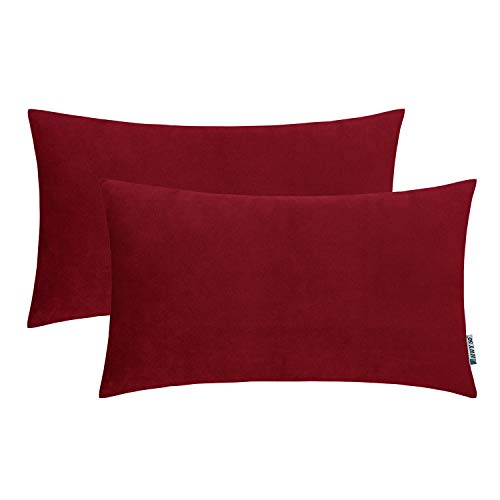 HWY 50 Velvet Soft Decorative Rectangular Throw Pillows Covers Set Cushion Cases for Couch Sofa Living Room 12 x 20 inch Pack of 2 Burgundy Wine Red (Pillows Rectangular)