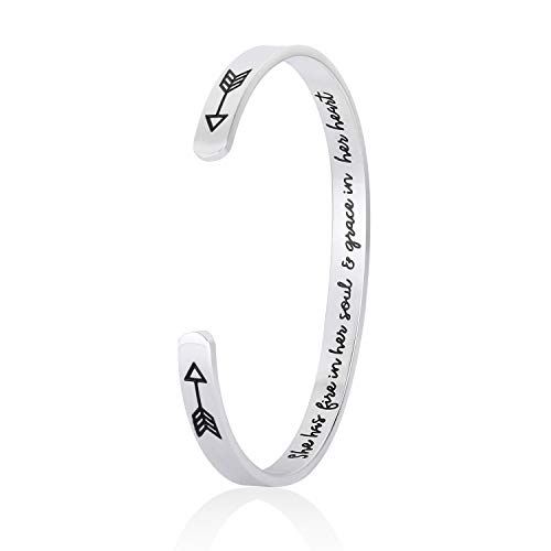 DODIY Inspirational Gift Bracelet Cuff Bangle - Mantra Quote She Has Fire in Her Soul and Grace in Her Heart Stainless Steel Engraved Encouragement Jewelry for Women with Secret Message Hidden Arrows