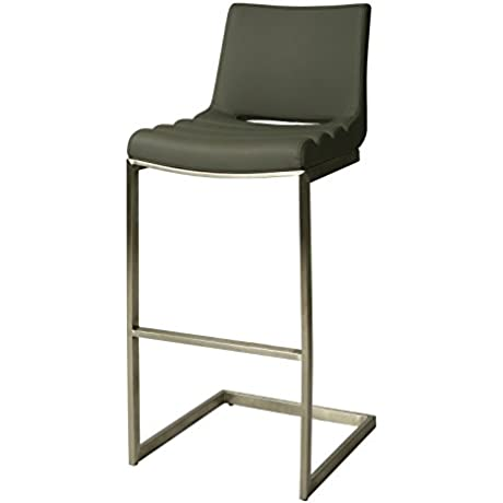 Impacterra QLEY210321096 Emily Stool 26 Counter Height Stainless Steel PU Gray