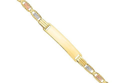 MCS Bijoux 14Karat trois Tons, Jaune or, Or blanc et or rose bébé Bracelet d'identification (longueur: 15,9cm)