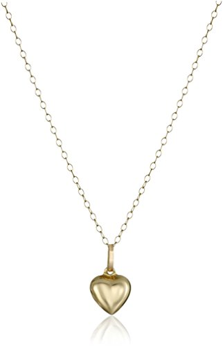 - 14k Yellow Gold Small Puffed Heart Pendant Necklace, 15