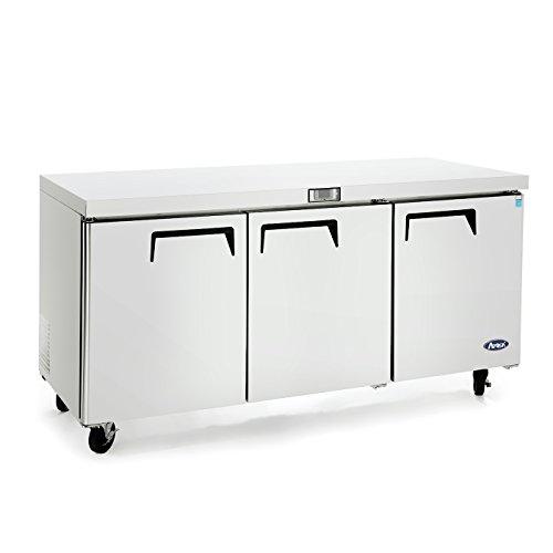 3 Door Undercounter Refrigerator (Commercial Undercounter Refrigerator,Commercial Large Beverage cooler fridge center ATOSA MGF8404GR 3 door stainless steel Horizontal Refrigerators32.8 Cu.Ft.72W30D36H inch32℉-38℉)