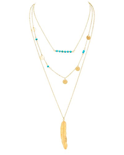 Feather Pendant Turquoise Multilayer Necklaces
