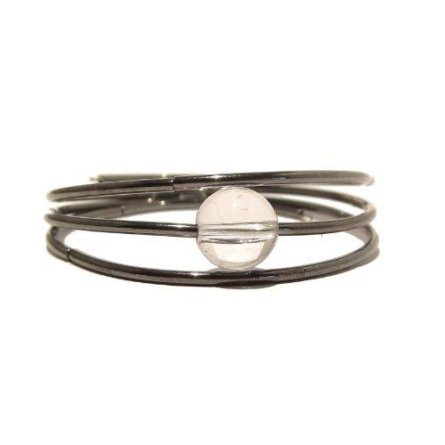Quartz Clear Bracelet Boutique Memory Wire Gunmetal Wrap Crystal Healing Stone 3-Layer Gem Handmade B01 I Dig Crystals quartzbracelet08