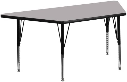 StarSun Depot 29.5 W x 57.25 L Trapezoid Grey Thermal Laminate Activity Table Height Adjustable Short Legs 29.5 W x 57.25 D x 16.125-25.125 H