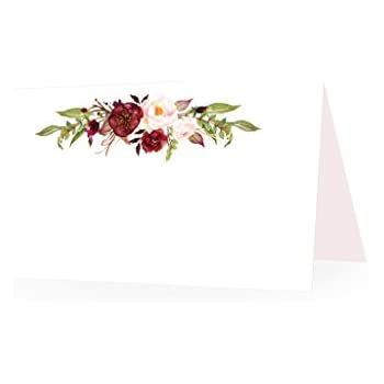 25 Elegant Peonies Floral Tent Table Place Cards For