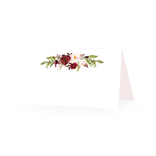 25 Elegant Peonies Floral Tent Table Place Cards for Wedding Thanksgiving Christmas Holiday Easter Catering Buffet Food Sign Paper Name Escort Card Folded Number Seat Assignment Setting Label Banquet