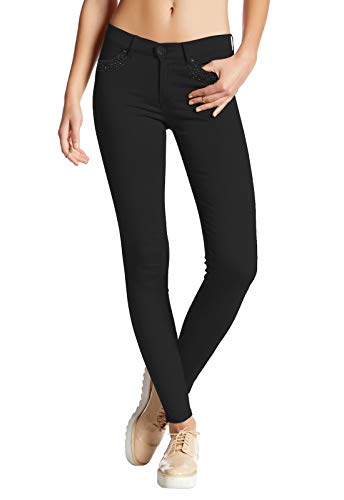 Womens Super Stretch Comfy Skinny Pants W/Rhinestones P44877SKX Black - Jeans Pants Rhinestone