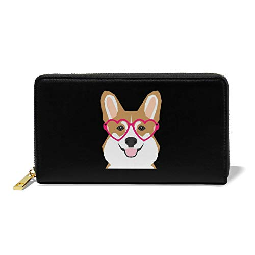 - Leather Wallet Long Purse 12 Slots Slim Wallet Welsh Corgi