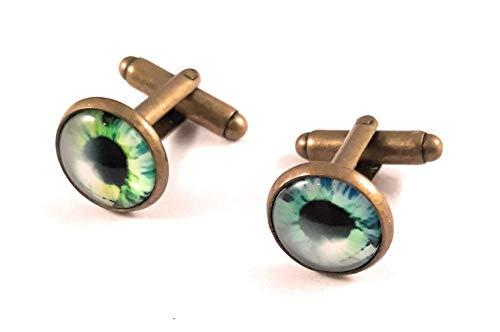 Handmade men's jewelry Creepy Eye Cufflinks - Blue/green eyeball Blackenedruby Jewelry