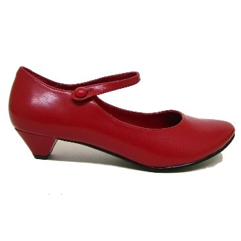 Womens Red Low Heel Mary Jane Ladies Dolly Shoes: Amazon.co.uk ...