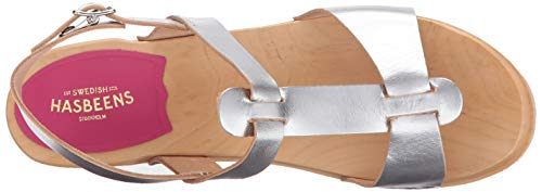 Greek hasbeens swedish Clog Women's Silver Sandal YUqEZSq
