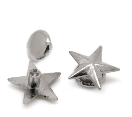 Dome Set Brooch (Housweety 100 Sets Silver Tone Star Spike Rivet Studs Spots 11mmx11mm(3/8