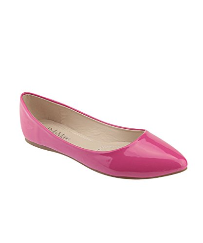 Bella Marie Womens Klassische Spitzen Zehen Ballett Slip On Flats-Shoes Magenta Patent