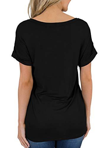 PrinStory Women's Casual Tops Short Sleeve V-Neck Shirts Loose Blouse Basic Tee T-Shirt 3