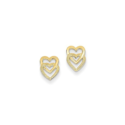 Solid 14k Yellow Gold Polished Double Heart Post Earrings (6mm x (Double Heart Post Earrings)