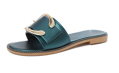 hebilla de metal hebilla del cinturón de deslizadores de señora palabra arrastre sandalias planas y zapatillas C